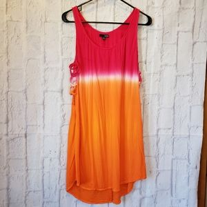 LADAKH Pink Orange Tie-dye Coverup Dress